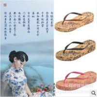 绿纳韩国夏季拖鞋 青花瓷高跟拖鞋批发 女士人字拖批发 包边设计
