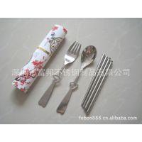 供应中国风情侣礼品 情人节心形勺叉筷 不锈钢餐具 便携套装