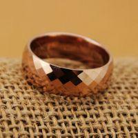 重钨钢钻石切割棱角精致批花镀18K玫瑰彩金戒指 男女指环不掉色