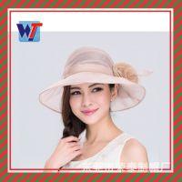 新款韩国帽子 夏天防晒韩版麻纱帽遮阳帽 高档婚礼麻纱帽时装帽