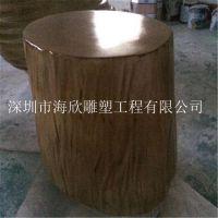 大型玻璃钢仿木椅子雕塑摆件 花园小区仿真木头凳子 仿真树 玻璃钢木头座蹲雕塑