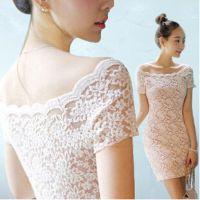 2015夏装新款性感修身包臀一字领蕾丝露肩连衣裙厂家直销一件代发