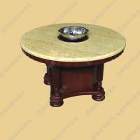 热卖 大理石电磁炉火锅桌椅组合 圆形煤气灶火锅桌 厂家定做