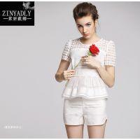 2015夏季新款 蕾丝雪纺上衣+短裤两件套 纯色休闲套装女 一件代发