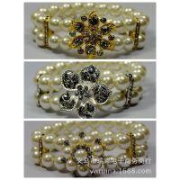 欧美饰品批发 欧美流行弹性珍珠手链 两层花朵手环 手饰 手镯