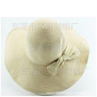 女夏季韩版草帽包边可折叠夏天大沿帽子沙滩旅行防晒蝴蝶结装饰