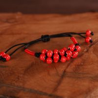 陶瓷首饰 陶瓷手链 手工编绳陶瓷珠子手链 玉米节相思红豆手链