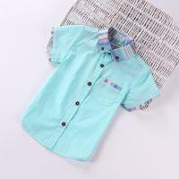 外贸原单童衬衫 男童 韩版潮范纯色棉麻儿童短袖衬衫 15夏季新款