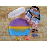 厂家直销 批发零售 防雾硅胶游泳镜 游泳帽 耳塞 鼻夹 4件套