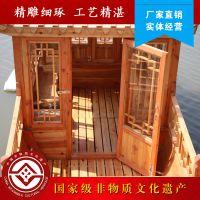 得胜湖木船厂家直销电动船中式观光木头船公园景区单亭游船客船