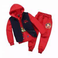 2015冬季大嘴猴童装加绒加厚 拉链帽衫长裤三件套装 厂家批发