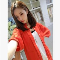 【钱夫人】Chinstudio定制 休闲橘红七分袖衬衫外套 防晒服