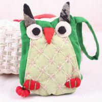 0600热销民族风小猫头鹰零钱包钥匙包卡通可爱布包包一件代发特色