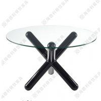 现代高档艺术设计圆形玻璃西餐桌 三叉脚时尚创意设计圆形玻璃西餐桌定做