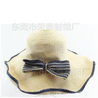 定做大沿帽韩版草编帽子海边沙滩遮阳防晒百搭太阳帽蝴蝶结旅游帽