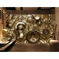 服装店工业风格墙纸 办公室装修3D立体墙纸 无缝纤维布壁画海星