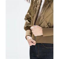 秋冬新款女装 欧美风衍缝短飞行员夹克包袖棉衣外套7659/961