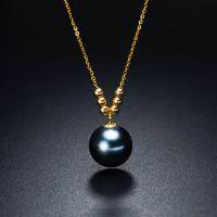 6+1海水珍珠吊坠G18K金大溪地海水黑珍珠典雅