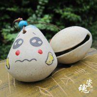 陶瓷铃铛饰品批发 手绘表情多种 可爱陶泥风格 卡通动漫公仔包链