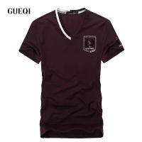 GUEQI 2015夏新款男士 英伦时尚 V领拼色莫代尔短袖T恤H8509
