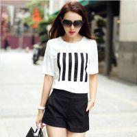 2015新款韩国代购大码女装短袖白色T恤短裤休闲套装女上下两件套