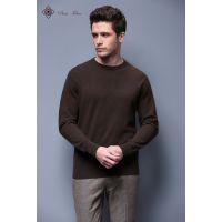 优润时装2016春新款针织休闲长袖圆领修身牦牛绒纯手工男士针织衫