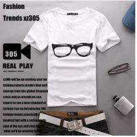 情侣T恤非主流男装11新款男款时尚短袖圆领T恤白色眼镜批发