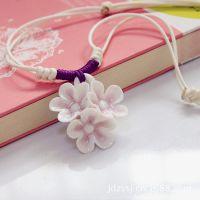 韩国流行 景德镇手工编织陶瓷花朵项链毛衣链 女生款