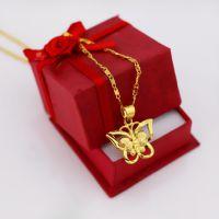金顺福女式吊坠花蝴蝶吊坠 黄铜镀金项链 保色稀金首饰现场加工