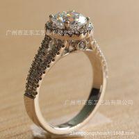 SONA高仿真钻石S925纯银戒指 欧美时尚饰品 情侣戒指 番禺首饰厂