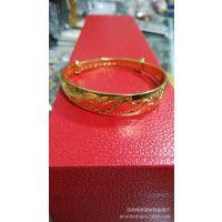 纯铜手镯 欧币首饰  沙金手镯 24K真金电镀  龙凤图案推拉款式