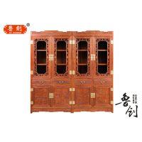 中式仿古家具 实木书架榆木书柜木质组合柜 置物架 明清古典家具
