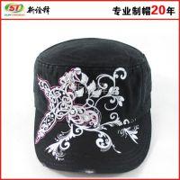 新款黑色作战帽 特战帽保安物业作训帽黑色前进帽 印花平顶军帽