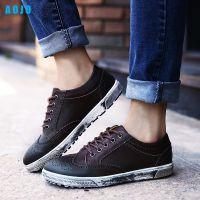 AOJO新款男鞋休闲鞋时尚布洛克擦色复古皮鞋