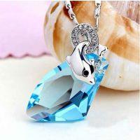 高端定制高品质 天然水晶 925纯银微镶钻可爱小海豚时尚女款项链