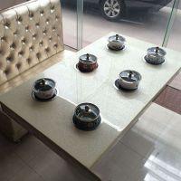 海德利 韩式长方形大理石火锅桌 一人一炉八人位电磁炉火锅桌 餐桌厂家直销