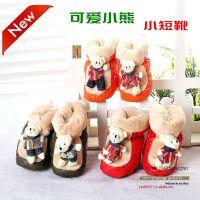 儿童靴子娃娃小熊高腰保暖童雪地靴棉靴童鞋冬款婴儿鞋宝宝棉靴
