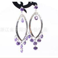 韩版韩式 圆环造型 紫色锆石耳环 女士 流行时尚 生产厂家