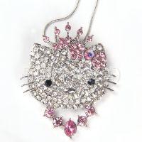 韩国时尚饰品闪亮满钻蝴蝶结银色HelloKitty猫短款项链 女