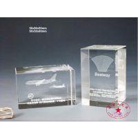 航空公司年庆礼品定制 水晶内雕飞机模型摆台 激光内雕水晶摆件批发