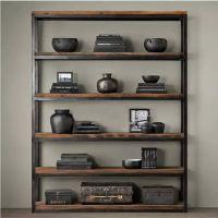 实木铁艺书架展示厨房落地层架杂货置物架客厅卧室五层四层三层二