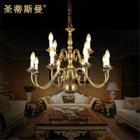 欧式吊灯 蜡烛灯 全铜灯具 8 4客厅吊灯 古典弯管会所灯