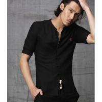 新款男士棉麻短袖修身盘扣唐装衬衫