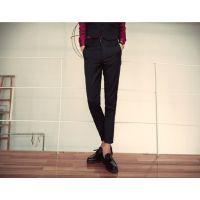 夏季九分裤男黑色学生青年 英伦小脚弹力修身9分裤男休闲小西长裤