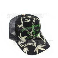 欧美潮帽子 树叶刺绣网帽 遮阳休闲男士货车帽 户外登山网眼帽子