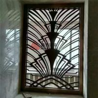 玫瑰金拉丝不锈钢花格、镜面钛金屏风隔断、真空镀色激光镂空工艺