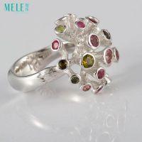 牧乐珠宝天然宝石巴西彩色碧玺戒指纯银饰品欧美时尚大气夸张女款