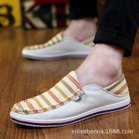 夏季男士透气帆布鞋懒人鞋套脚休闲鞋青年潮流韩版男布鞋英伦潮鞋