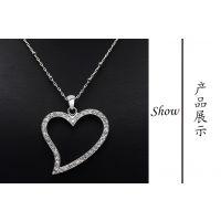 厂家热销 时尚潮流项链 女士 精美项链心形银饰水晶吊坠