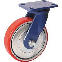 厂家直销轮子10寸超重型蓝架铁芯聚氨酯PU万向轮推车脚轮